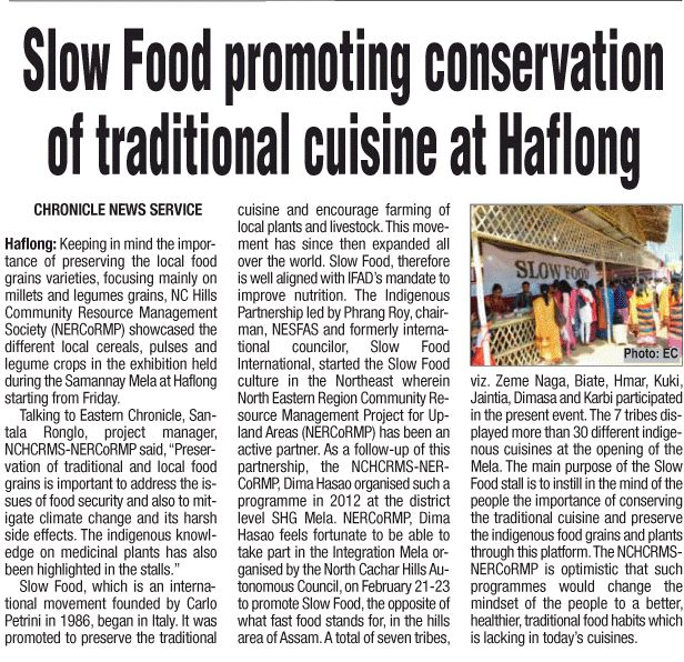 Slow Food Promoting Conservation of Traditional Cuisine at Halflong